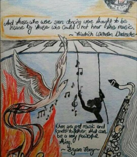 Sitat fra Friedrich Wilhelm Nietzsche illustrert av Kelly Ackroyd